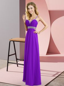 Fine Floor Length Criss Cross Prom Dresses Purple for Prom and Party with Beading