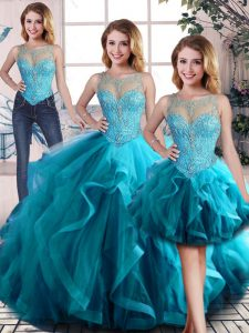 Aqua Blue Sleeveless Tulle Lace Up Vestidos de Quinceanera for Sweet 16 and Quinceanera