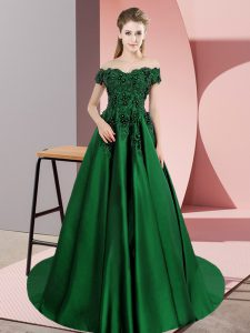 New Style Off The Shoulder Sleeveless Quinceanera Dresses Court Train Lace Dark Green Satin