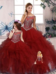 Glittering Scoop Sleeveless Zipper Quinceanera Dresses Burgundy Organza