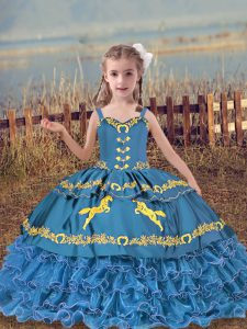 Low Price Blue Lace Up Pageant Dress Toddler Beading and Embroidery and Ruffled Layers Sleeveless Floor Length