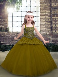 Superior Floor Length Ball Gowns Sleeveless Olive Green Little Girl Pageant Gowns Lace Up