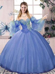 Chic Floor Length Blue Quinceanera Gown Sweetheart Sleeveless Lace Up