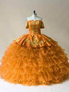 Organza Off The Shoulder Sleeveless Lace Up Embroidery and Ruffled Layers Quinceanera Gowns in Gold