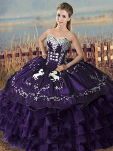 Purple Sweet 16 Dresses Sweet 16 and Quinceanera with Embroidery and Ruffles Sweetheart Sleeveless Lace Up