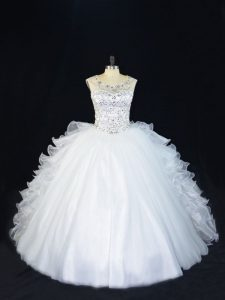 Vintage Ball Gowns Quinceanera Gown White Scoop Organza Sleeveless Floor Length Lace Up