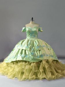 Hot Selling Ball Gowns Sleeveless Yellow Green Quinceanera Gown Chapel Train Lace Up
