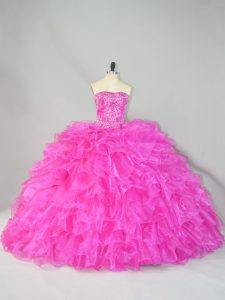 Comfortable Organza Sleeveless Sweet 16 Dresses Court Train and Beading and Ruffles