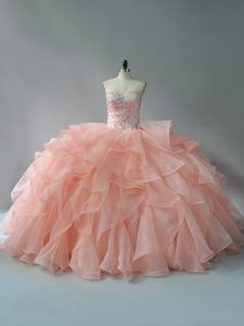 Sleeveless Beading and Ruffles Lace Up Sweet 16 Dresses with Peach Brush Train
