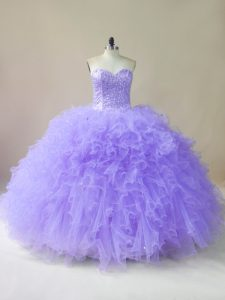 Charming Lavender Quinceanera Dresses Sweet 16 and Quinceanera with Beading and Ruffles Sweetheart Sleeveless Lace Up