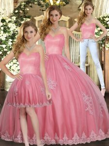 Watermelon Red Tulle Lace Up Quinceanera Dress Sleeveless Floor Length Appliques
