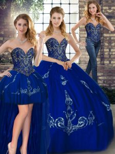 Sleeveless Tulle Floor Length Lace Up Ball Gown Prom Dress in Royal Blue with Beading and Embroidery