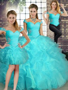 Aqua Blue Off The Shoulder Lace Up Beading and Ruffles 15 Quinceanera Dress Sleeveless