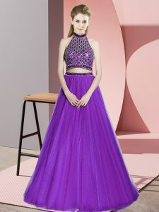 Halter Top Sleeveless Tulle Celebrity Evening Dresses Beading Backless
