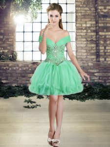 Ball Gowns Prom Evening Gown Apple Green Off The Shoulder Tulle Sleeveless Mini Length Lace Up