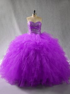 Charming Sweetheart Sleeveless Lace Up 15th Birthday Dress Purple Tulle
