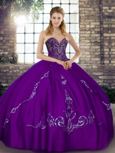 Colorful Purple Ball Gowns Sweetheart Sleeveless Tulle Floor Length Lace Up Beading and Embroidery 15th Birthday Dress