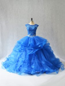 Royal Blue Sleeveless Tulle Brush Train Lace Up Quinceanera Dresses for Sweet 16 and Quinceanera