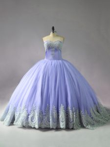 Lavender Tulle Lace Up Sweetheart Sleeveless Quinceanera Gown Court Train Appliques