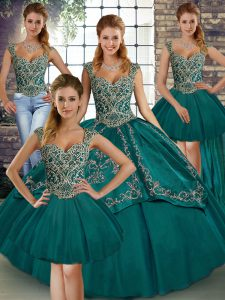 Teal Tulle Lace Up 15 Quinceanera Dress Sleeveless Floor Length Beading and Embroidery