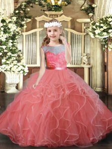 Scoop Sleeveless Tulle Little Girl Pageant Dress Lace and Ruffles Backless