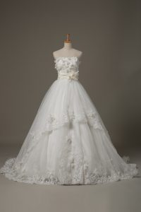 White Ball Gowns Tulle Strapless Sleeveless Lace and Appliques and Hand Made Flower Lace Up Wedding Gowns Brush Train