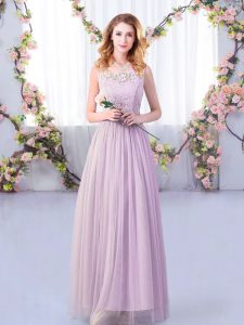 Lavender Tulle Side Zipper Scoop Sleeveless Floor Length Dama Dress Lace and Belt