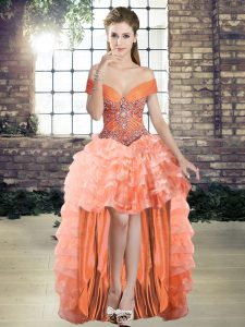 Sleeveless Beading and Ruffled Layers Lace Up Homecoming Dress