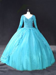 Chic Aqua Blue Ball Gowns V-neck Long Sleeves Tulle Floor Length Lace Up Lace and Appliques 15 Quinceanera Dress