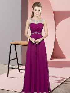 Excellent Sleeveless Chiffon Floor Length Backless Prom Gown in Fuchsia with Beading