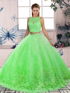 Top Selling Green Two Pieces Lace Quince Ball Gowns Backless Tulle Sleeveless