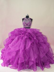 Purple Backless Halter Top Beading and Ruffles 15 Quinceanera Dress Organza Sleeveless Brush Train