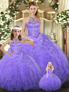 Romantic Floor Length Ball Gowns Sleeveless Lavender Quinceanera Dress Lace Up