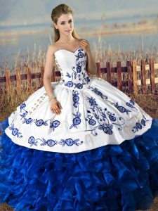 Blue And White Sleeveless Embroidery and Ruffles Floor Length Ball Gown Prom Dress