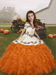 Embroidery and Ruffles Pageant Dress Wholesale Orange Lace Up Sleeveless Floor Length