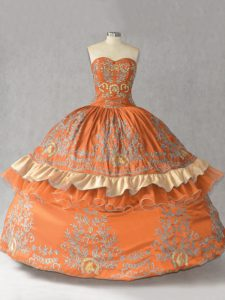 Sleeveless Satin Floor Length Lace Up Quinceanera Dresses in Orange with Embroidery