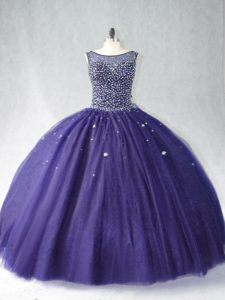 Purple Ball Gowns Beading Quinceanera Dress Zipper Tulle Sleeveless Floor Length