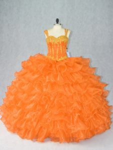 Cute Orange Straps Neckline Beading and Ruffles 15 Quinceanera Dress Sleeveless Lace Up