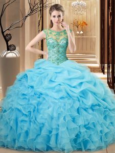 Eye-catching Baby Blue Scoop Lace Up Beading and Ruffles Quinceanera Dresses Sleeveless