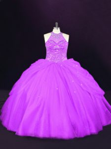 Purple Sleeveless Beading Quinceanera Gowns