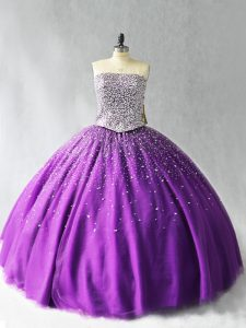 Flare Purple Organza Lace Up Strapless Sleeveless Floor Length Quinceanera Dresses Beading