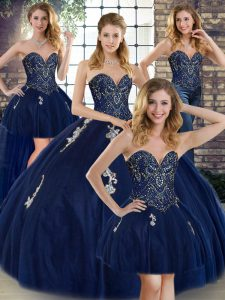 Romantic Floor Length Ball Gowns Sleeveless Navy Blue Quince Ball Gowns Lace Up
