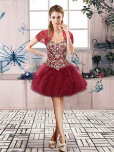 Burgundy Lace Up Cocktail Dresses Beading and Ruffles Sleeveless Mini Length