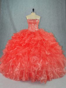 Affordable Red Quinceanera Dresses Sweet 16 and Quinceanera with Beading and Ruffles Strapless Sleeveless Lace Up