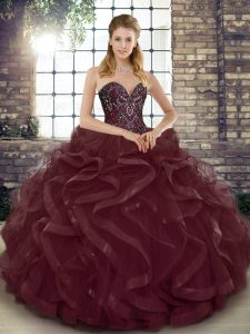 Vintage Burgundy Sleeveless Floor Length Beading and Ruffles Lace Up Quinceanera Gowns