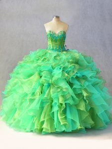 Sleeveless Floor Length Beading and Ruffles Lace Up Quinceanera Gowns with Multi-color