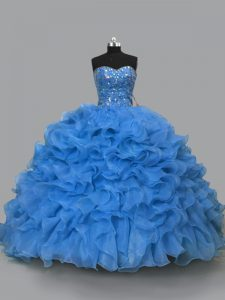Sleeveless Organza Floor Length Lace Up 15 Quinceanera Dress in Blue with Beading and Ruffles