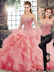 Perfect Watermelon Red Sweetheart Lace Up Beading and Ruffles Vestidos de Quinceanera Brush Train Sleeveless