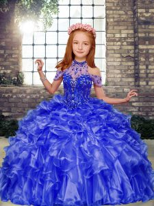 Floor Length Ball Gowns Sleeveless Blue Pageant Dress Toddler Lace Up