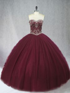 Burgundy Sleeveless Beading Floor Length Quinceanera Gowns